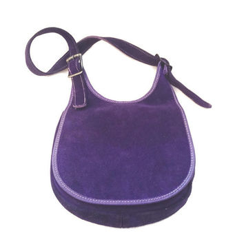 Vintage 1970's Suede Purse * Saddle Bag * PURPLE * Leather Handbag * Boho