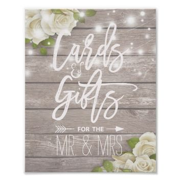 Wood Floral String Lights Cards Gifts Wedding Sign Poster