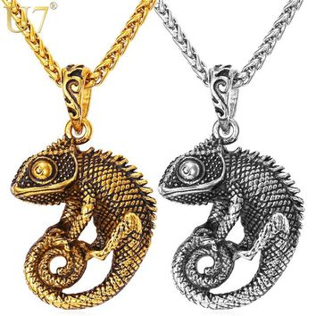 U7 Statement Necklace For Men Chain Kpop Jewelry Gold Color Stainless Steel Chameleon Dragon Animal Necklaces & Pendants P594