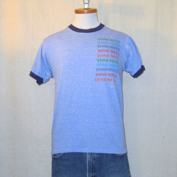 Vintage 80s RAYON YOSEMITE GRAPHIC National Park Heather Blue Tri-Blend Small Medium Ringer T-Shirt