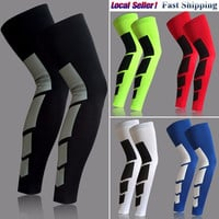 a pair Pro Sports Silicone Antiskid Long Knee Support Brace Pad Protector Sport Basketball Leg Sleeve Sports Kneepad 5 Colors