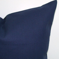 Navy Blue Pillow.SOLID NAVY.12x16 or 12x18 inch Decorator Lumbar Pillow Cover.Printed Fabric Front and Back.Cushion.cm