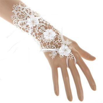 Charm White Lace Flower Rhinestone Bracelets & Bangles Wedding Bridal Party Slave Hand Finger Chain Jewelry