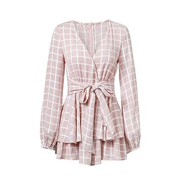 Playing It Cool Pink White Plaid Pattern Long Sleeve Cross Wrap V Neck Tie Waist Ruffle Tiered Romper Playsuit