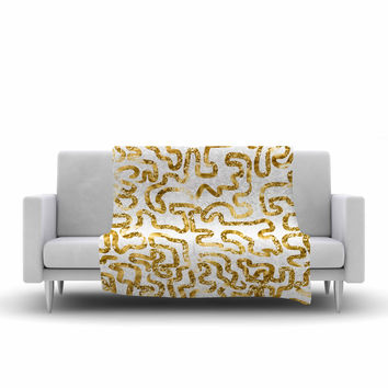 "Anneline Sophia ""Squiggles in Gold"" Yellow White Fleece Throw Blanket"