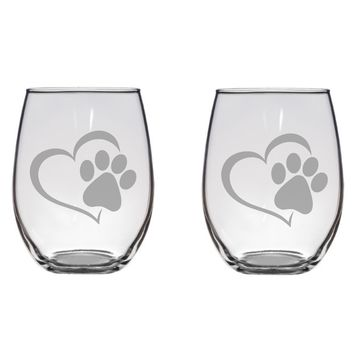Paw with Heart Engraved Glasses, Dog Lover, Gift, Free Personalization