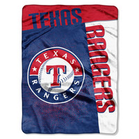 "Texas Rangers 60""x80"" Royal Plush Raschel Throw Blanket - Strike Design"