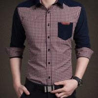 Checked Pattern Shirt Collar Long Sleeve Shirt