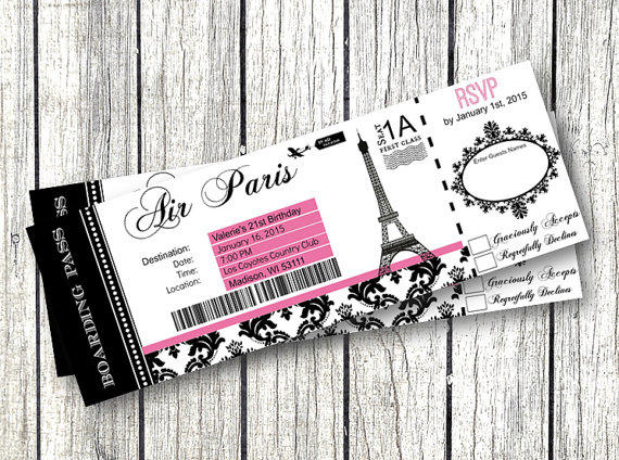 Paris Boarding Pass Invitation Diy From Pink Pop Roxx