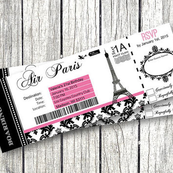 Paris Boarding Pass Invitation DIY EDITABLE Birthday Party RSVP Eiffel Tower Airplane Ticket printable birthday baby shower sweet 16