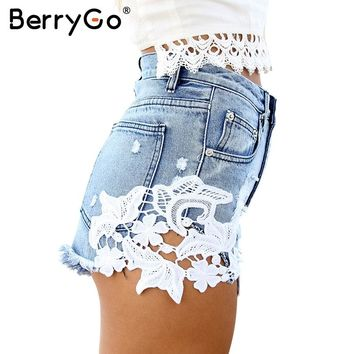 BerryGo Summer 2016 ripped pocket high waist women casual shorts Sexy lace blue denim shorts Vintage jeans girl hot shorts