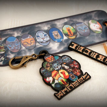 Warrior Cats Bookmark With Clan Fob and Backpack Swag Bling Zipper Jewelry Fan Boy Girl Stocking Stuffer FREE SHIPPING