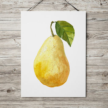 Pear art Food print Kitchen print Fruit poster ACW431