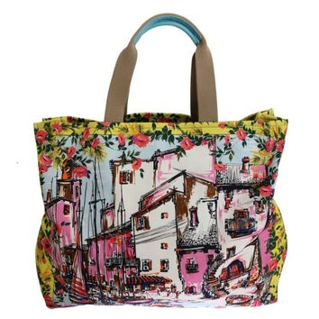 Dolce & Gabbana Multicolor PORTOFINO Print Canvas Tote Bag