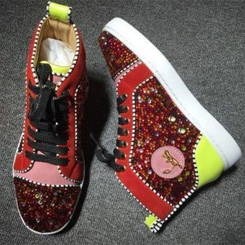 DCCK Cl Christian Louboutin Rhinestone Style #1952 Sneakers Fashion Shoes