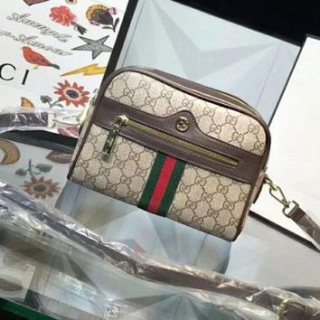 GUCCI Trending Woman Print Leather Shoulder Bag Crossbody Coffee I