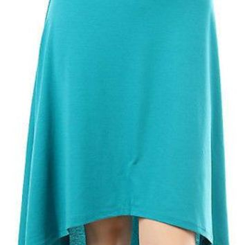 Solid Plain A Line Hi-Low Hem Skirt Banded High Waist Flare Bottom Stretch Skirt