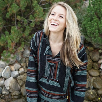 Mexican Threads Baja Hoodie Drug Rug Pullover Sweatshirt | Gypsy Jacket | Hippie Poncho | Black Turquoise S-3XL