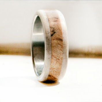 Spalted Maple and Antler Ring Titanium Ring Mens wedding band