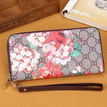 Perfect  Gucci Women Leather Zipper Flower Purse Wallet