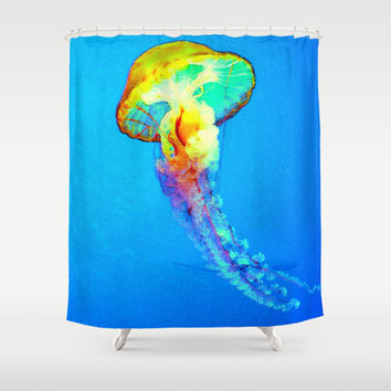 psychedelic jellyfish Shower Curtain by Hardkitty