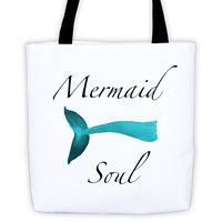 Mermaid Soul Tote Bag Summer Fashion Beach Style Island Crustacean Red by Wave of Life™