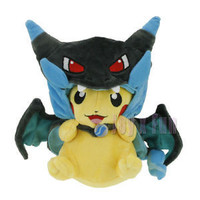 "9"" Pokemon PIKACHU With X Charizard Hat"
