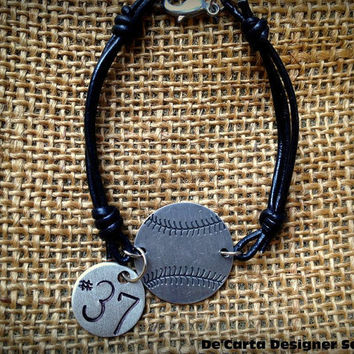 Baseball Softball Custom Leather Handstamped  Bracelet ( includes 1 custom disk)