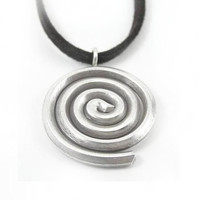Sterling Silver Pendant / Necklace, Silver Spiral Pendant, thick rustic silver pendant, Swirl pendant, Women / Men, unisex, Tribal, Handmade