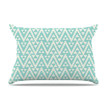 "Amanda Lane ""Geo Tribal Turquoise Sky"" Teal Aztec Pillow Sham"
