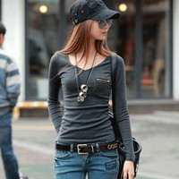 New Korean Fashion Women's Top Long Sleeve Punk Sexy T-Shirt Tee AP = 1956860868