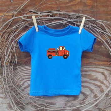 Baby Boys Clothes Fire Truck, Blue T shirt, 6, 12 and 18 months, fire truck embroidery