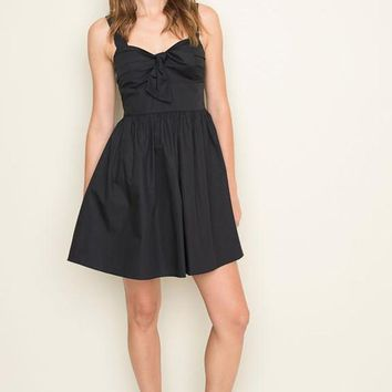 Front Tie Poplin Little Black Dress