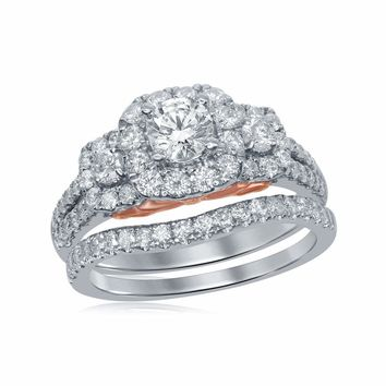 14kt Two-tone Gold Womens Round Diamond Bellissimo Bridal Wedding Engagement Ring Band Set 1-1/2 Cttw (Certified)