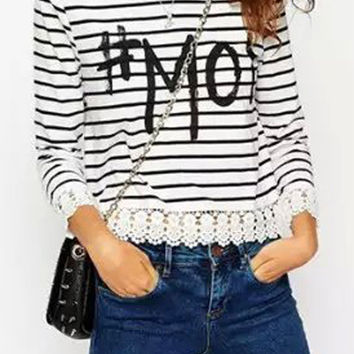 #Moi Graphic Print Black And White Stripe Lace Hem T-shirt