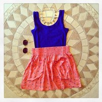 Coral Highwaisted Skirt w/ pockets from Belle La Vie Boutique