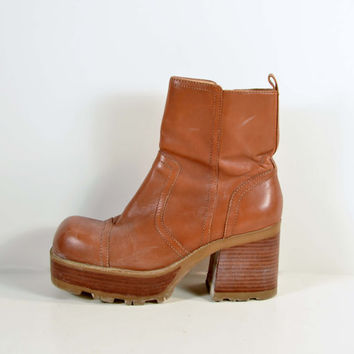 90s Tan Leather Chunky Heel Platform Ankle Boot/Grunge Punk Back to School Rave Boots by Mudd 8.5 - 9