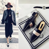 Summer Leather Square Toe With Heel Shoes Slippers [4920609028]