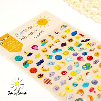 1 Sheet Weather Icons Cartoon Daisyland Scrapbook PET Paper Kawaii Stickers Diary Decal Post It Phone Sticker Flakes 1154