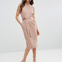 ASOS Belted Midi Dress with Split Cap Sleeve and Pencil Skirt at asos.com