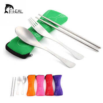 FHEAL Lunch Portable Stainless Steel Dinnerware Tableware Sets Cutlery Three-piece Environmentally Outdoor Travel