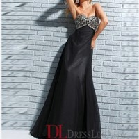 A-Line Sweetheart Chiffon Black Long Prom Dress/Evening Gowns With Beading VTC567