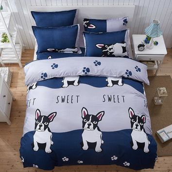 Cartoon Panda Dog Pattern Boy Girl Adult KidsBedclothes 4pcs Bedding Sets Bed Cover Bed Sheet Duvet Cover Pillowcase Multicolors