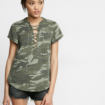 Camouflage Lace-Up Short Sleeve Top