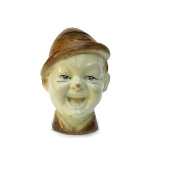 Laughing Boy Money Box. Antique Ceramic Money Safe. Boy Head Figurine.
