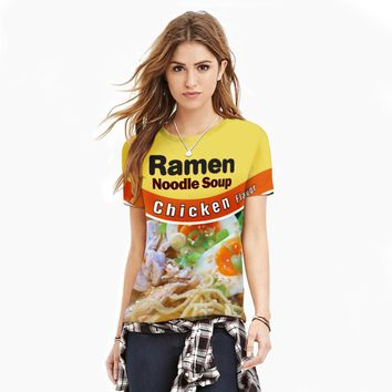 2017 Summer T shirts Yellow 3D Ramen Noodle Soup Printed Women Basic Plain Round Crew Neck Tee Shirts Casual Tee Tops S-XXL