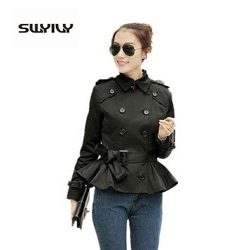 2017 Woman Short Trench Coat With Sashes Runway Catwalk Khaki Black Brand Autumn Winter Double Breasted Windbreaker