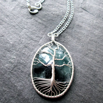 Green Purple Fluorite Crystal Tree of Life Necklace, Wire Wrap Silver Pendant, Fluorite Gemstone on Silver Chain, Boho, Talisman, UK made