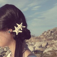 Natural Double White Knobby Starfish Barrette - Cute Adorable Beach Boho Elegant Romantic Whimsical - Dreamy Sea Stars - Mermaid Collection