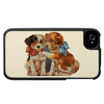 Vintage Puppy Dog Love, Two Mutts with Bows Iphone 4 Case